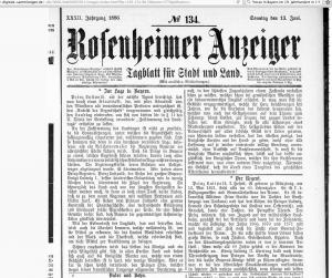 Rosenheimer Anzeiger 91_13.6.1886_Hinweis auf Komplott Prinz Luitpold 2017-02-14 um 10.32.08