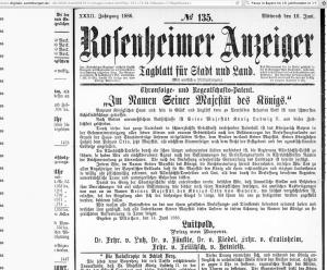 Rosenheimer Anzeiger 93_16.6.1886_Hinweis auf Komplott Prinz Luitpold 2017-02-14 um 10.35.07